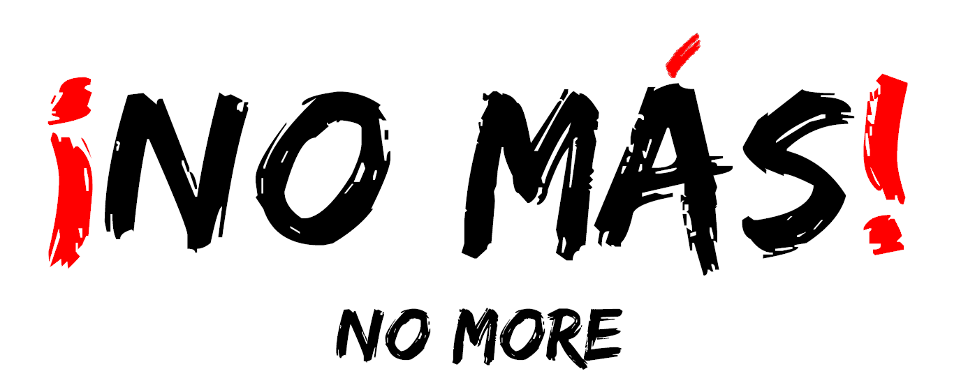No Mas White background black letters PNG large with No More